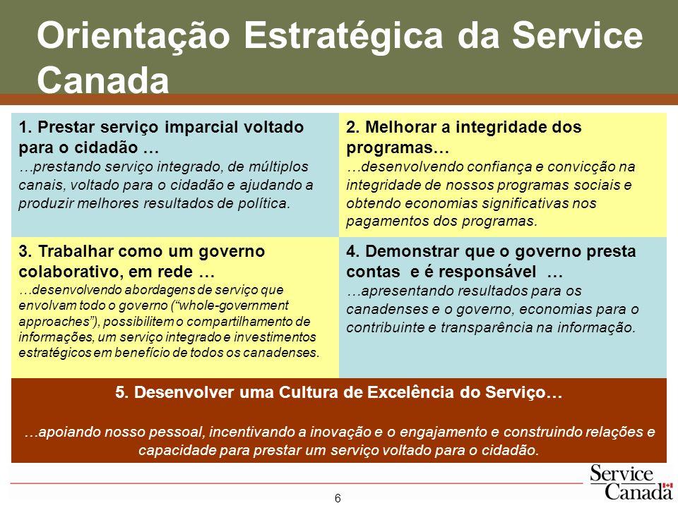 7 Obtendo e Sustentando uma Cultura de Excelência do Serviço Promover nosso Mandato e nossos Objetivos na Service Canada
