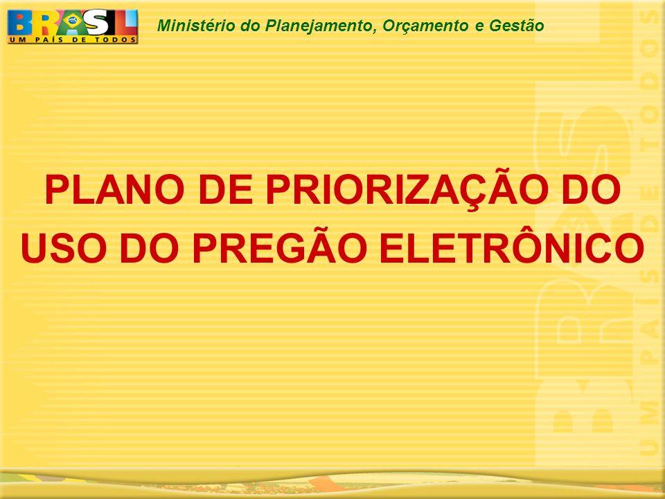 Ministério do Planejamento, Orçamento e Gestão PLANO DE PRIORIZAÇÃO DO USO DO PREGÃO ELETRÔNICO