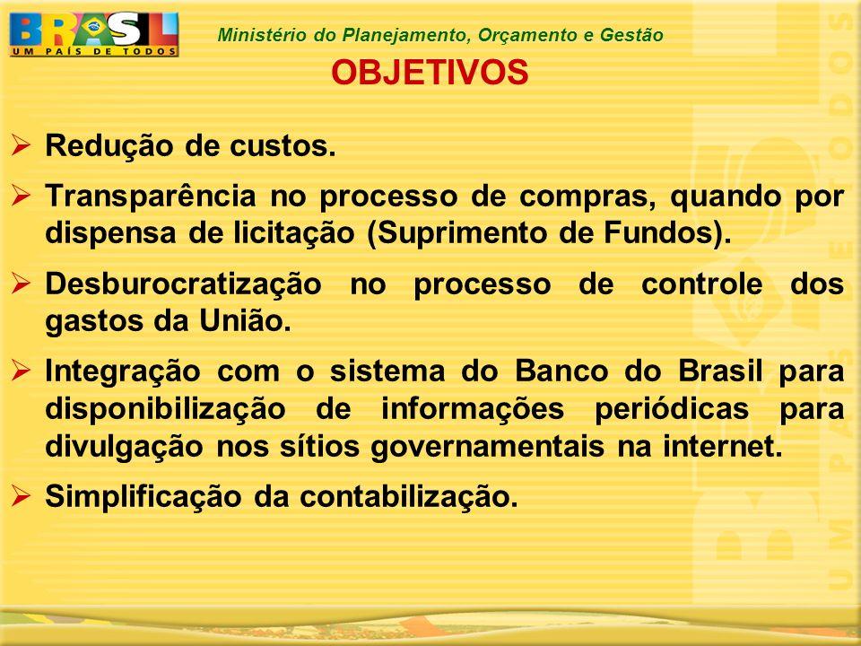 Ministério do Planejamento, Orçamento e Gestão OBJETIVOS Redução de custos. Transparência no processo de compras, quando por dispensa de licitação (Su