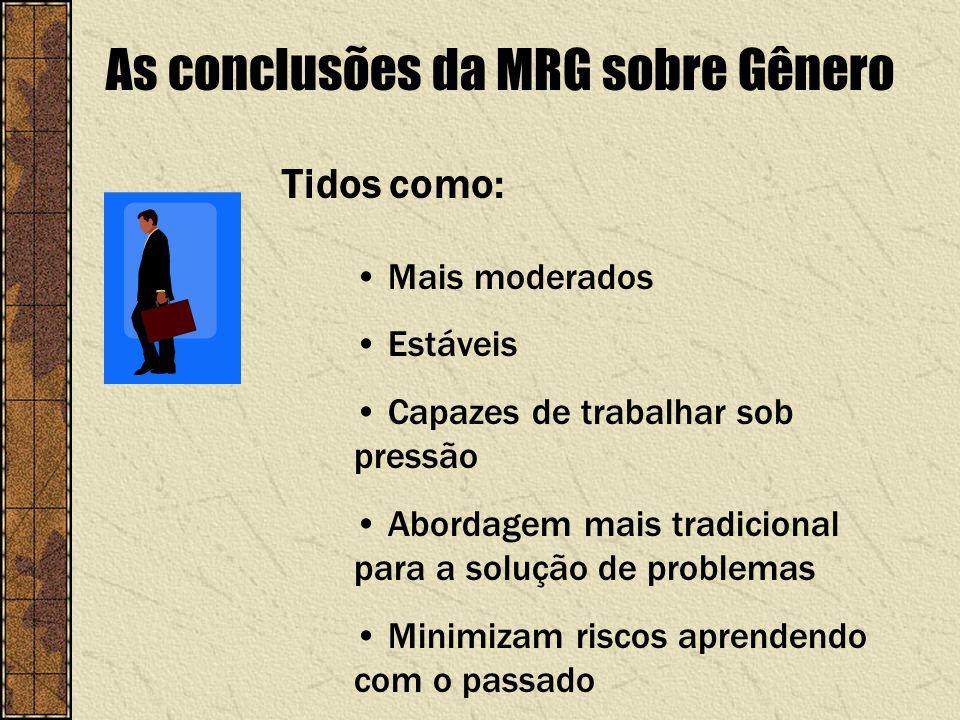 As conclusões da MRG sobre Gênero Mais moderados Estáveis Capazes de trabalhar sob pressão Abordagem mais tradicional para a solução de problemas Mini