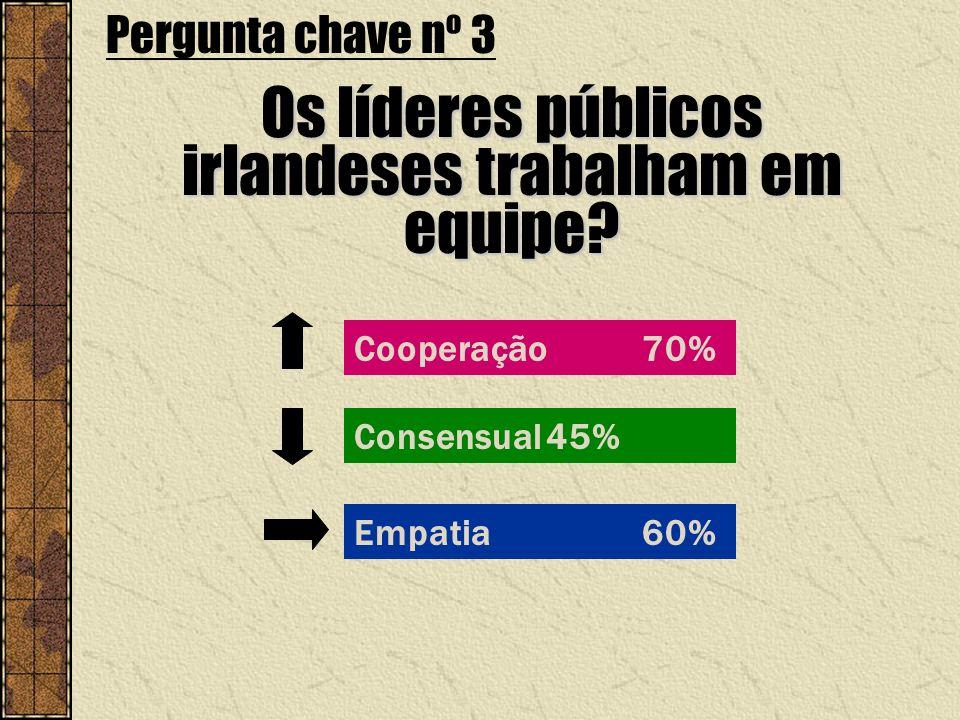 Cooperação 70% Pergunta chave nº 3 Os líderes públicos irlandeses trabalham em equipe? Consensual45% Empatia60%