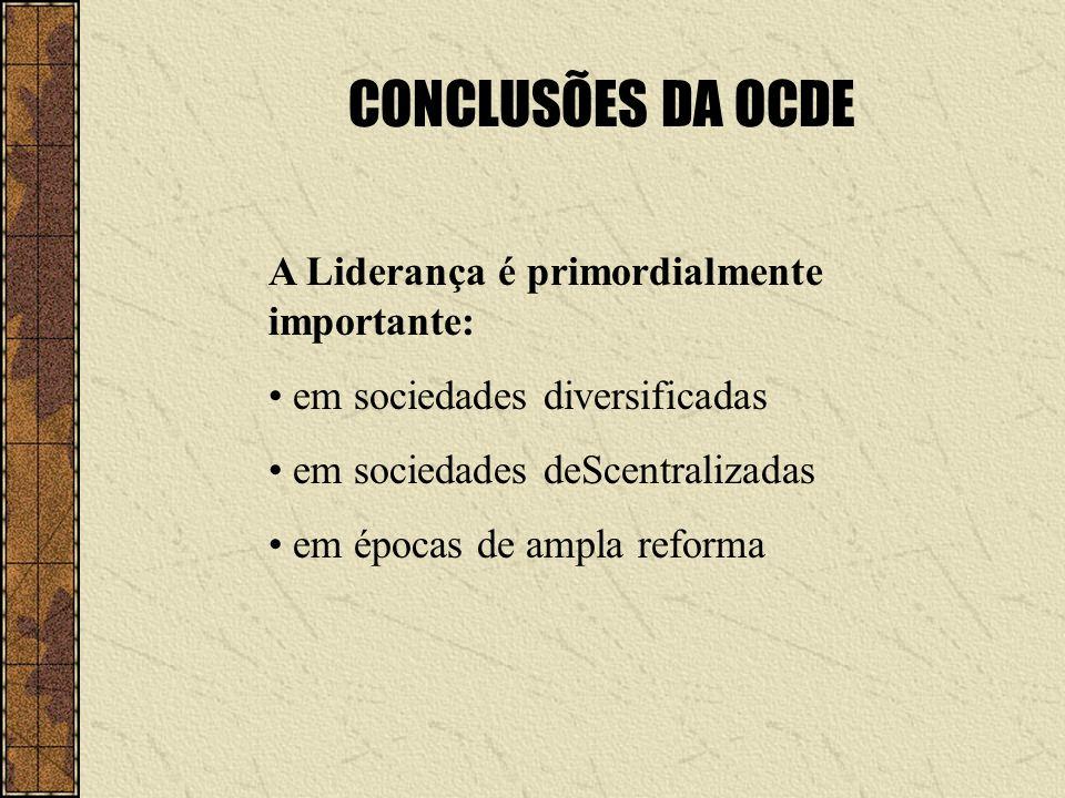 CONCLUSÕES DA OCDE A Liderança é primordialmente importante: em sociedades diversificadas em sociedades deScentralizadas em épocas de ampla reforma