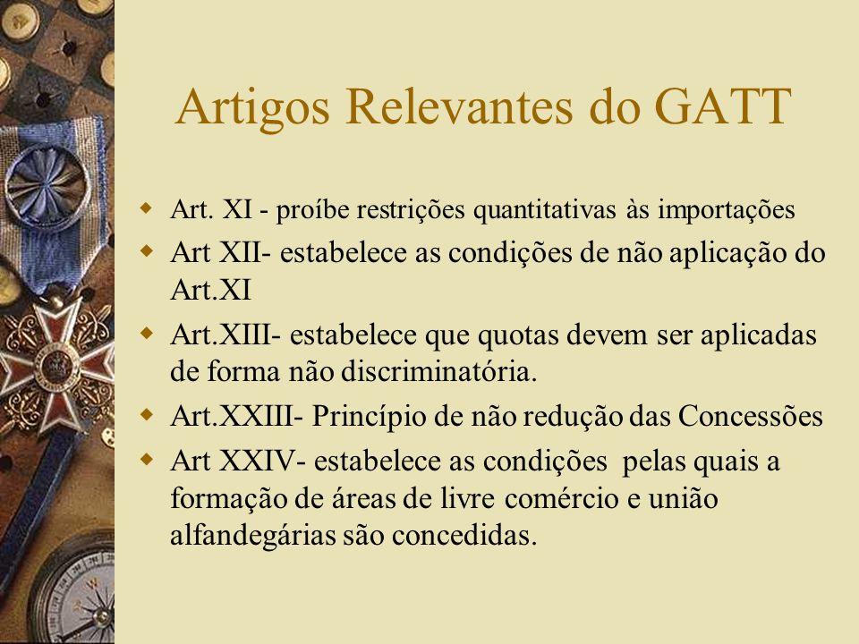 PRINCÍPIOS DO GATT FUNDAMENTAIS 1- Princípio da Não Discriminação (NMF) 2- Princípio dos Benefícios Mútuos IMPLÍCITOS 3 - Acesso aos mercados 4- Comér