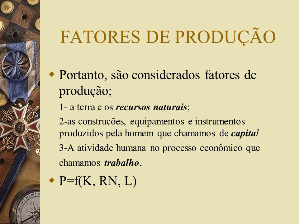FATORES DE PRODUÇÃO Embora a riqueza seja um estoque, a maneira mais eficiente de observá-la é pelo seu uso através da mensuração do fluxo de produção