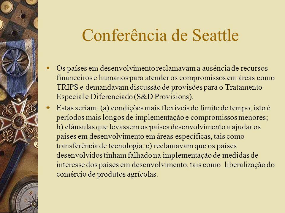 Reuniões Ministeriais Singapura - 9-13 de Dezembro de 1996 Genebra (18-20 de Maio de 1998) Seattle (30/11 a 3/12/1999) Doha (9-13 de novembro 2001) Ro