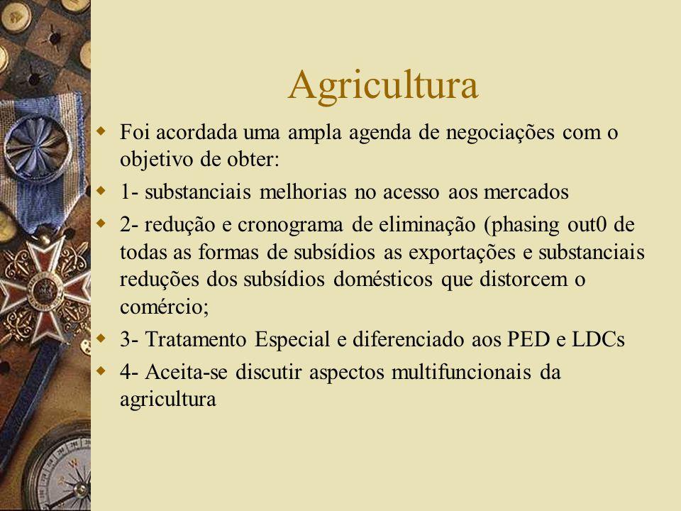 Pontos de Negociação da Rodada de Doha 1-Agricultura 2-Serviços 3-Acesso aos Mercados dos Produtos não-agrícolas; 4- Propriedade Intelectual; 5- Comér