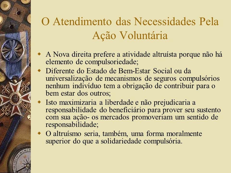O Atendimento das Necessidades Pela Ação Voluntária A Nova direita rejeita a noção de necessidade como relativa- esta está ligada apenas a sustentação