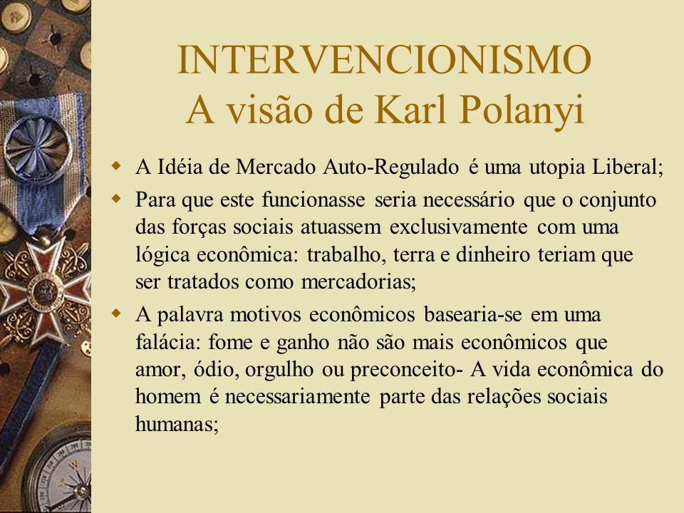 INTERVENCIONISMO Ludwig von Mises: Intervenção é uma norma restritiva imposta por um orgão governamental, que força os donos dos meios de produção e e