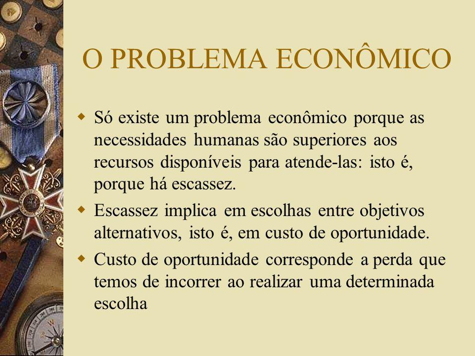 O PROBLEMA ECONÔMICO Só existe um problema econômico porque as necessidades humanas são superiores aos recursos disponíveis para atende-las: isto é, porque há escassez.