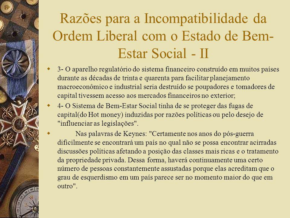 Razões para a Incompatibilidade da Ordem Liberal com o Estado de Bem- Estar Social - I 1- Os controles de capital seriam necessários para proteger os