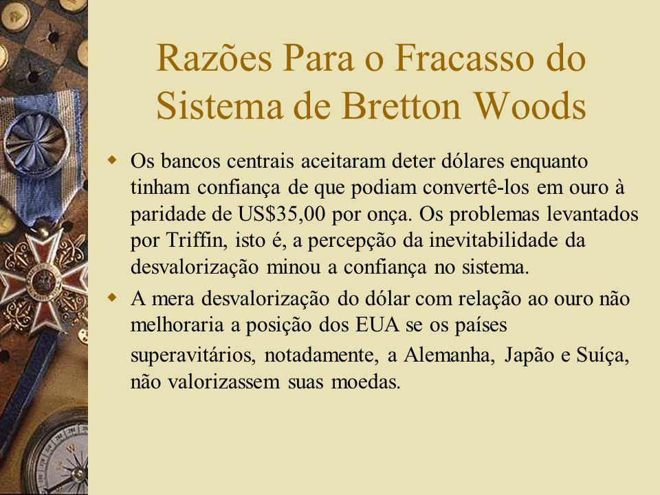 Fim do Sistema de Bretton Woods O Sistema chega ao fim no período 1971-73. Em 15/08/1971 Nixon informou a suspensão da conversibilidade do dólar Em de