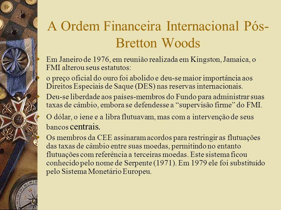 A Ordem Financeira Internacional Pós-Bretton Woods A partir de 1973 o mundo convive com taxas de câmbio flutuantes determinadas pelo mercado e sujeita