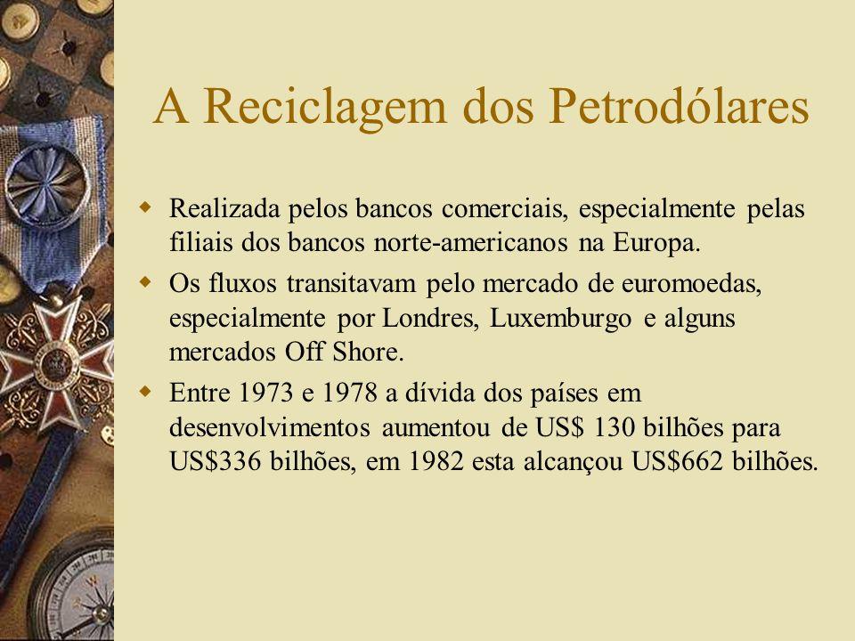 A Crise do Petróleo A desvalorização do dólar no início da década de 1970 infligiu perdas aos detentores de dólares e aos produtores de commodities co