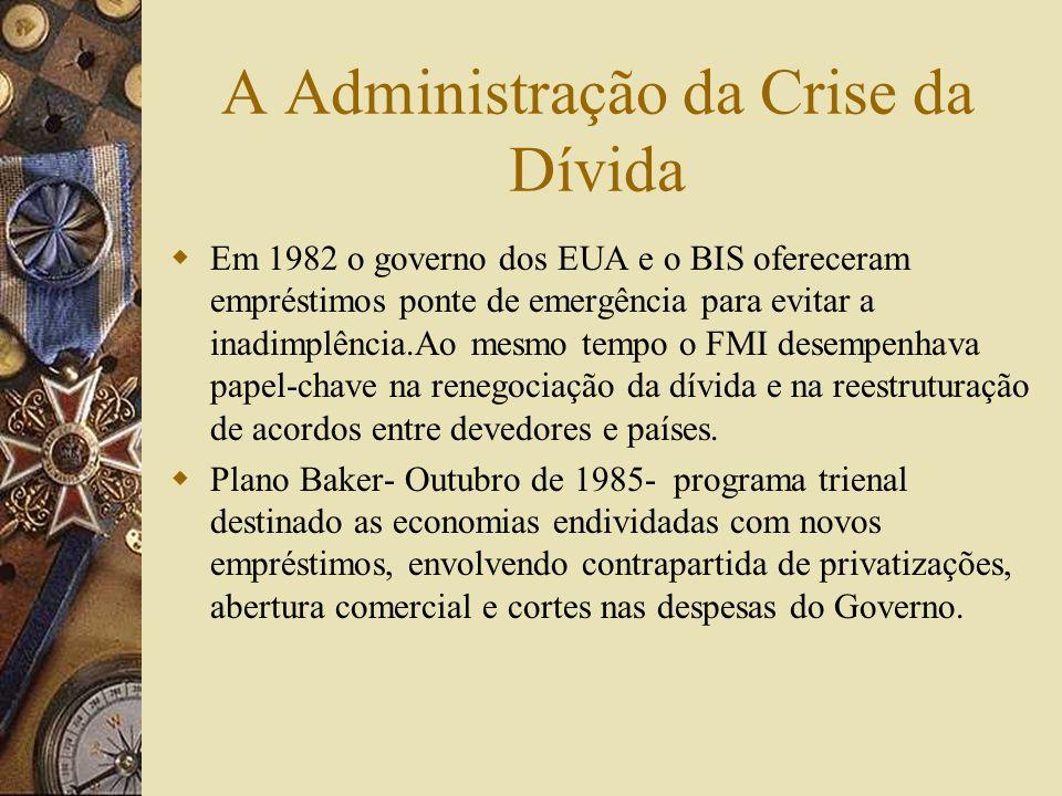 A Crise da Dívida Entre 1978 e 1981 as taxas de juros aumentaram de 9.5% para 16,6%. Isto levou a valorização do dólar e a recessão mundial, agravando