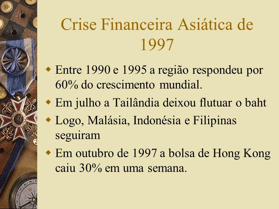 A Crise do Peso Mexicano de 1994-95 Com a mudança dos fluxos de capitais o Mëxico foi um dos países mais beneficiados. Depois das reformas econômicas