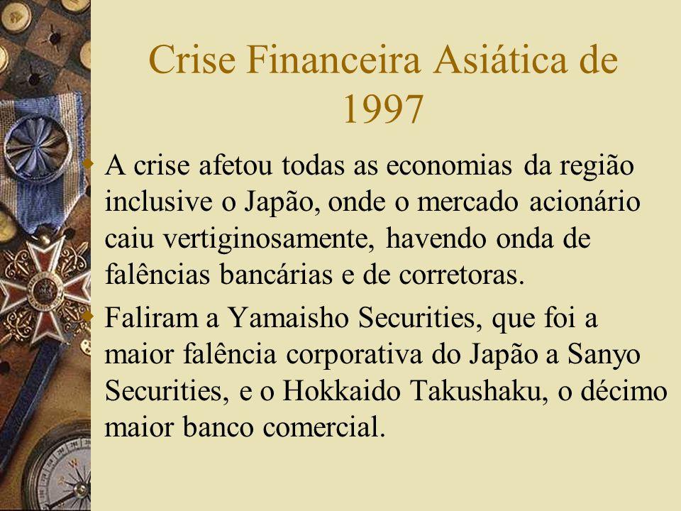 Crise Financeira Asiática de 1997 Entre 1990 e 1995 a região respondeu por 60% do crescimento mundial. Em julho a Tailândia deixou flutuar o baht Logo