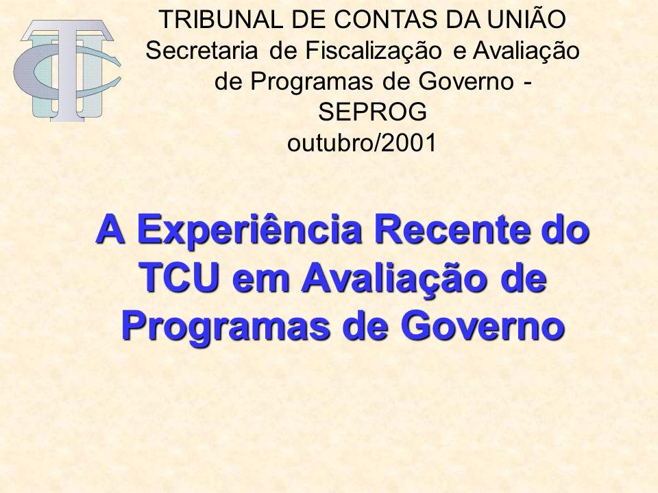 A Experiência Recente do TCU em Avaliação de Programas de Governo TRIBUNAL DE CONTAS DA UNIÃO Secretaria de Fiscalização e Avaliação de Programas de Governo - SEPROG outubro/2001