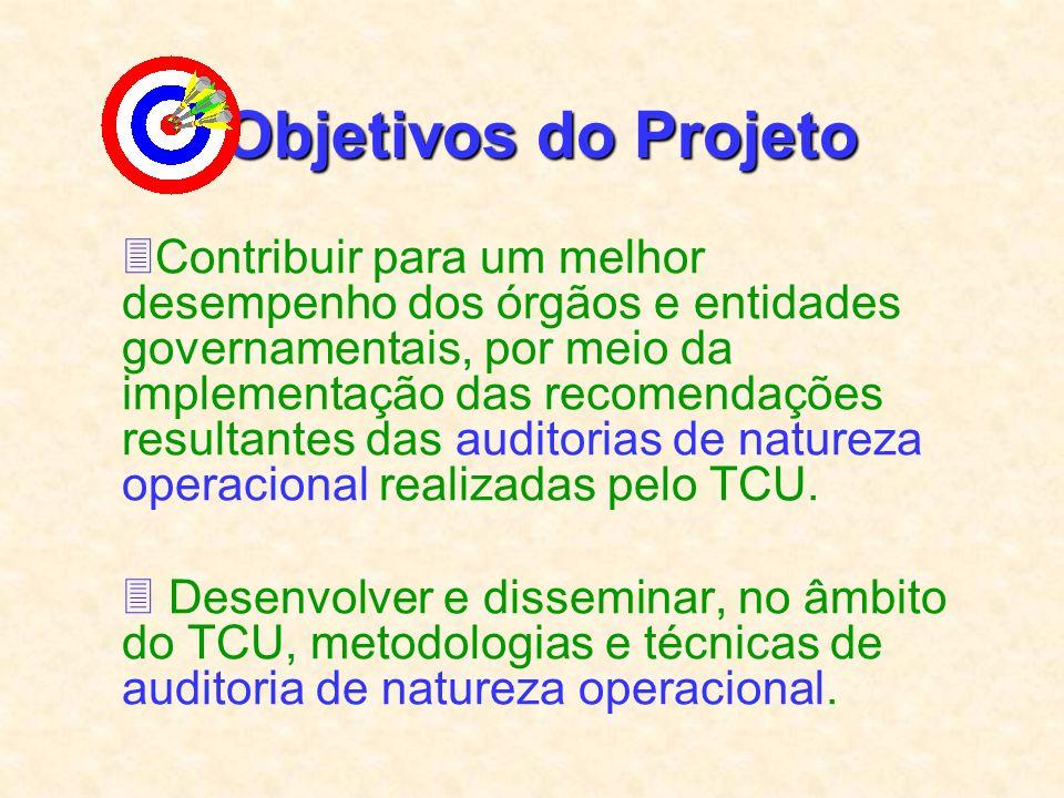 Objetivos do Projeto 3Contribuir para um melhor desempenho dos órgãos e entidades governamentais, por meio da implementação das recomendações resultantes das auditorias de natureza operacional realizadas pelo TCU.