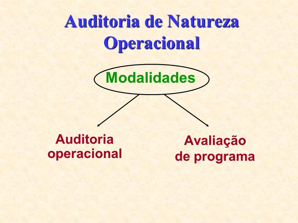Auditoria de Natureza Operacional Avaliação de programa Auditoria operacional Modalidades