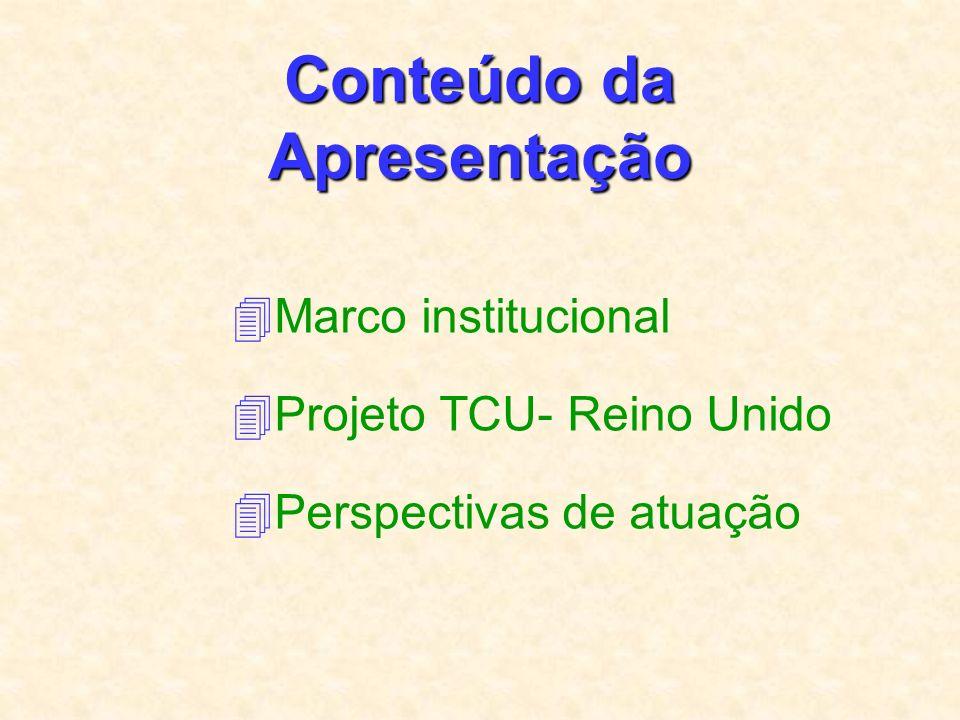 Conteúdo da Apresentação 4Marco institucional 4Projeto TCU- Reino Unido 4Perspectivas de atuação