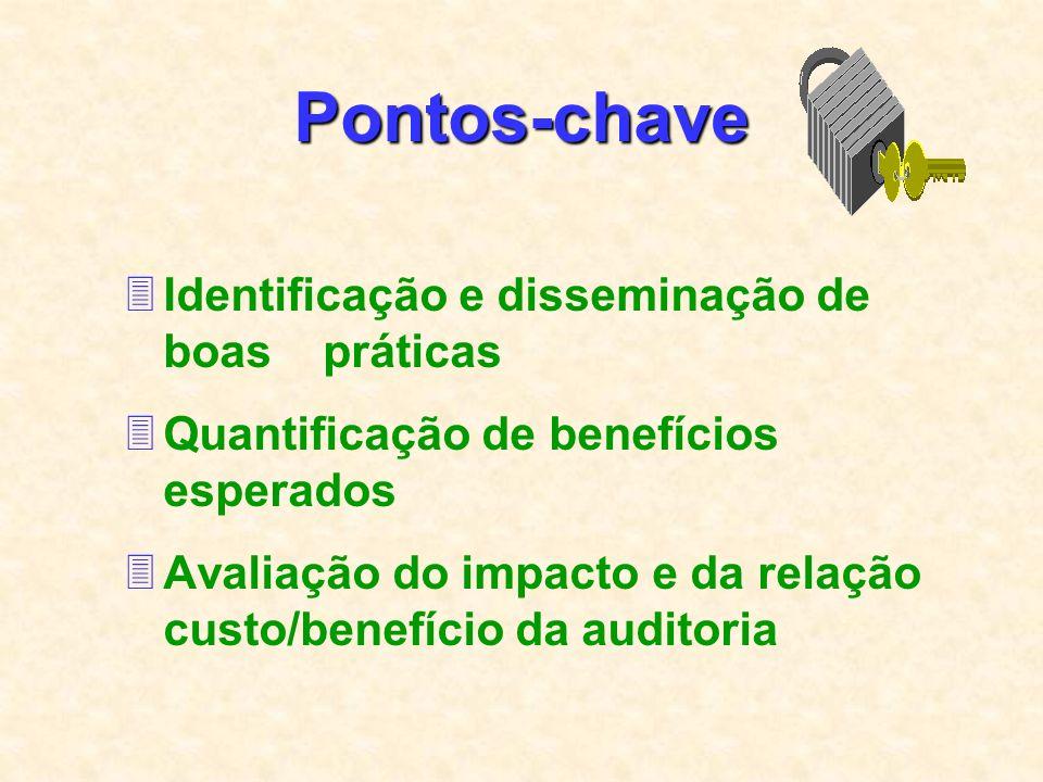 Pontos-chave 3Identificação e disseminação de boas práticas 3Quantificação de benefícios esperados 3Avaliação do impacto e da relação custo/benefício da auditoria