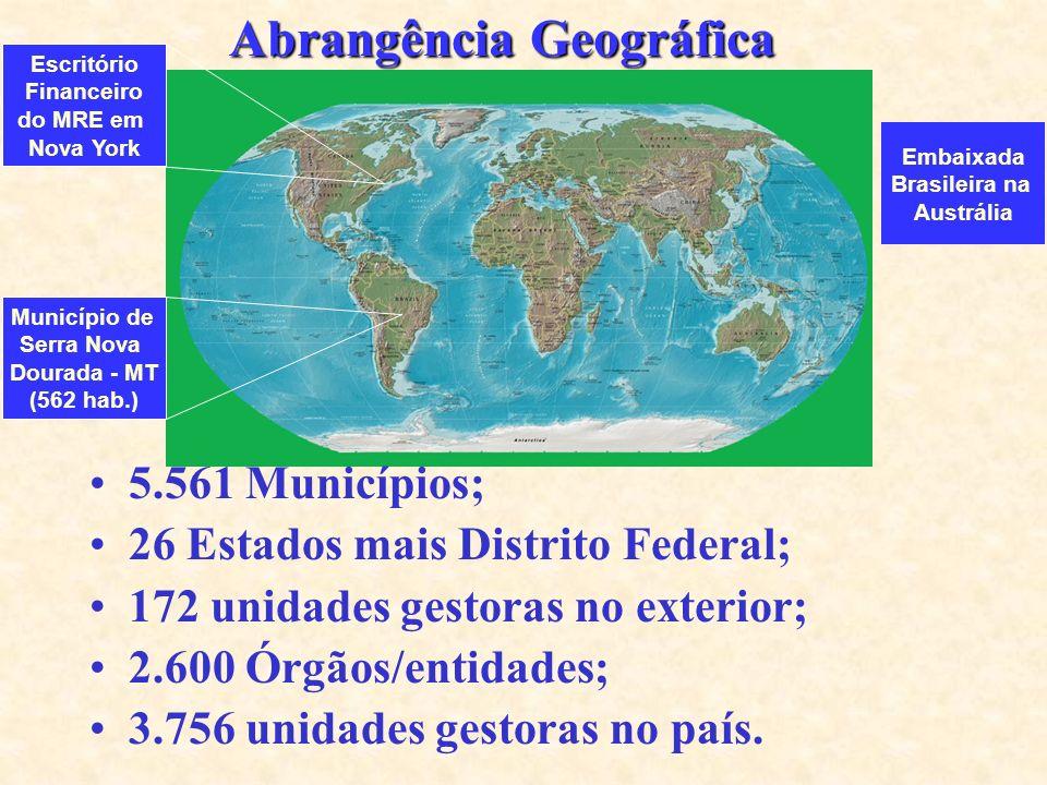 Abrangência Geográfica 5.561 Municípios; 26 Estados mais Distrito Federal; 172 unidades gestoras no exterior; 2.600 Órgãos/entidades; 3.756 unidades gestoras no país.