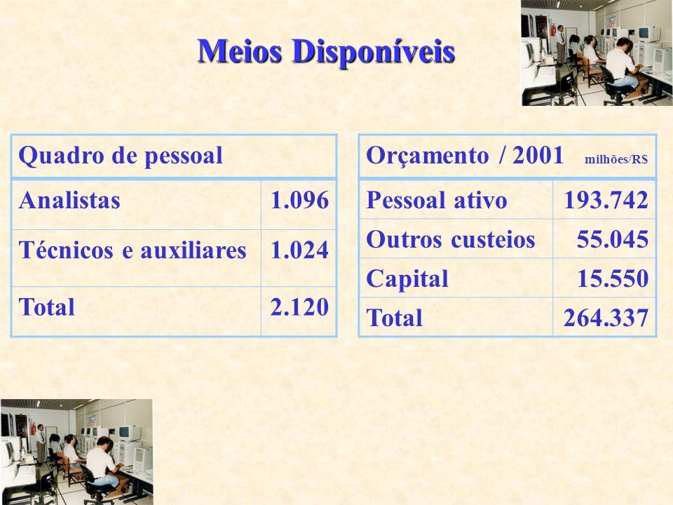 Meios Disponíveis Analistas1.096 Técnicos e auxiliares1.024 Total2.120 Pessoal ativo193.742 Outros custeios55.045 Capital15.550 Total264.337 Quadro de pessoalOrçamento / 2001 milhões/R$