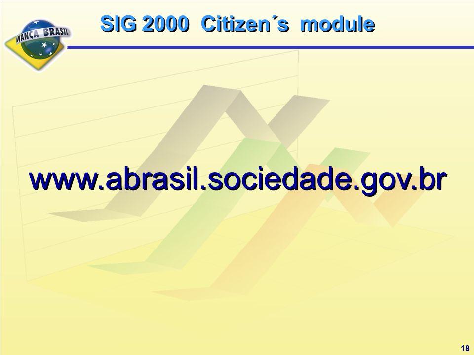 18 www.abrasil.sociedade.gov.br SIG 2000 Citizen´s module