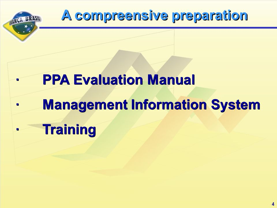 4 · PPA Evaluation Manual · Management Information System · Training · PPA Evaluation Manual · Management Information System · Training A compreensive preparation