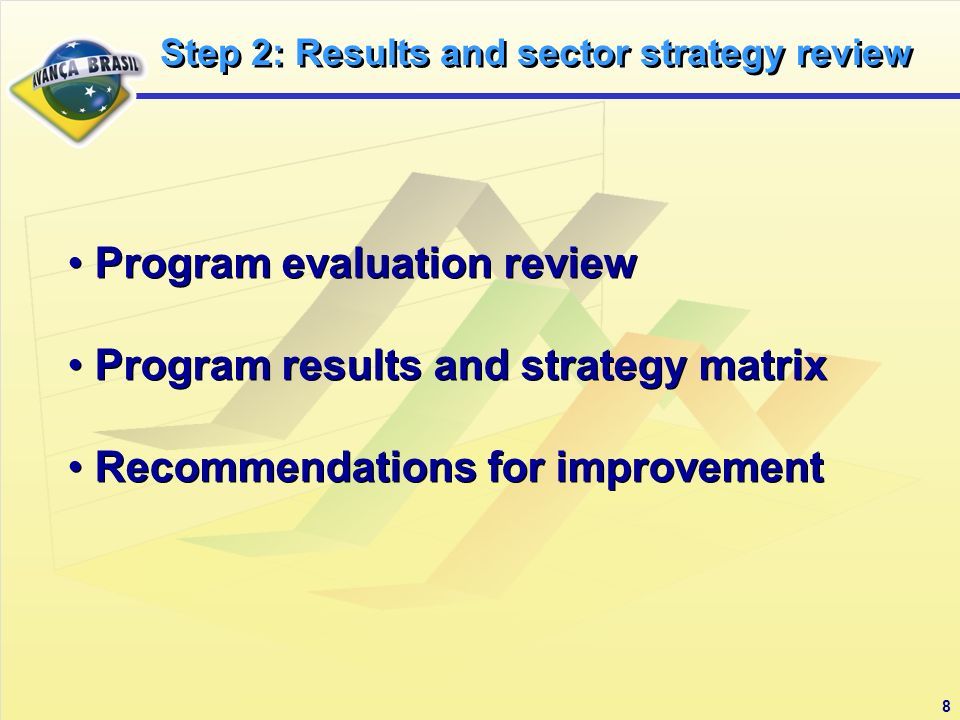 8 Program evaluation review Program results and strategy matrix Recommendations for improvement Program evaluation review Program results and strategy matrix Recommendations for improvement Step 2: Results and sector strategy review