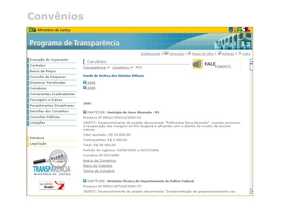 @ 2005 Programa de Transparência do Ministério da Justiça Telefone (0xx61) 3429.9933 Convênios