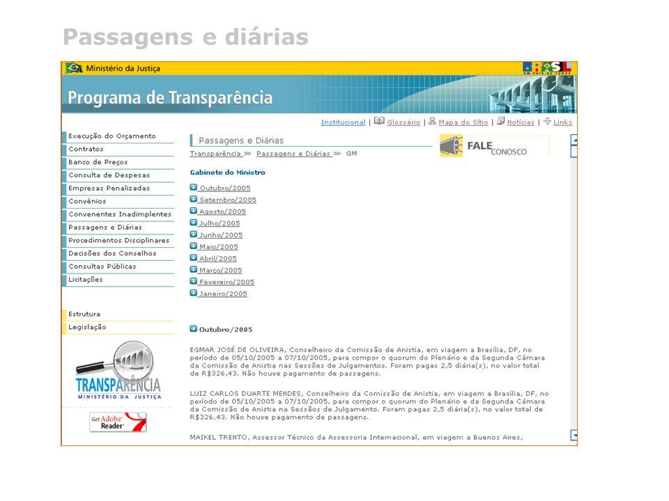 @ 2005 Programa de Transparência do Ministério da Justiça Telefone (0xx61) 3429.9933 Passagens e diárias
