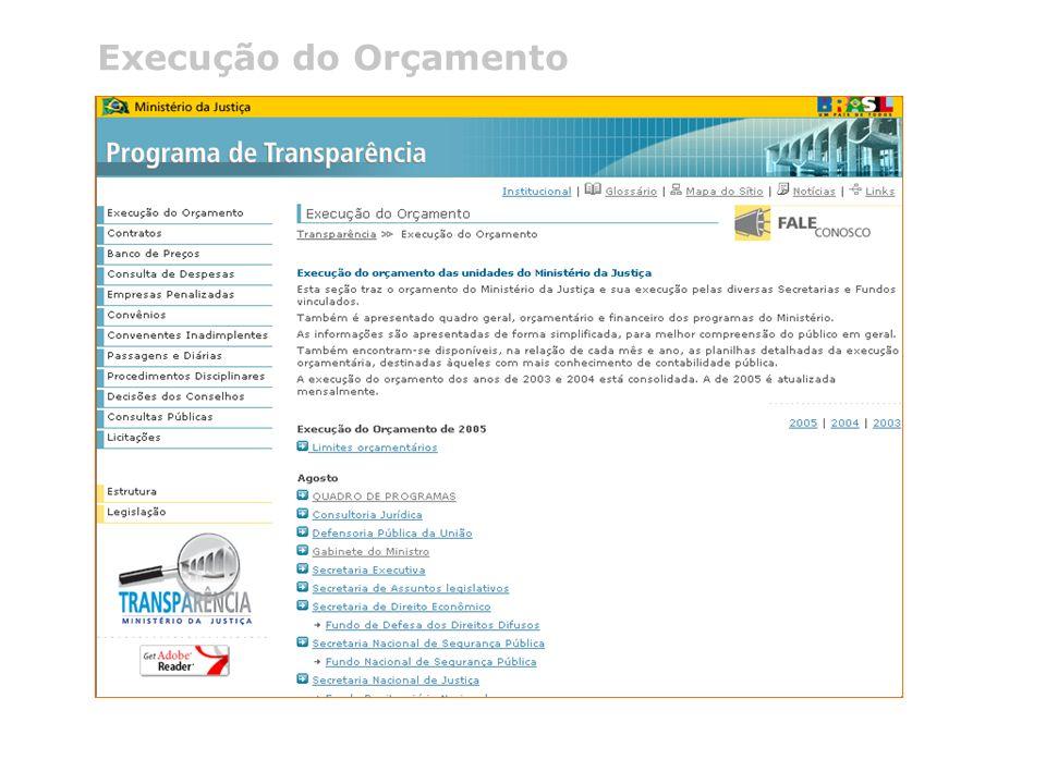 @ 2005 Programa de Transparência do Ministério da Justiça Telefone (0xx61) 3429.9933 Execução do Orçamento