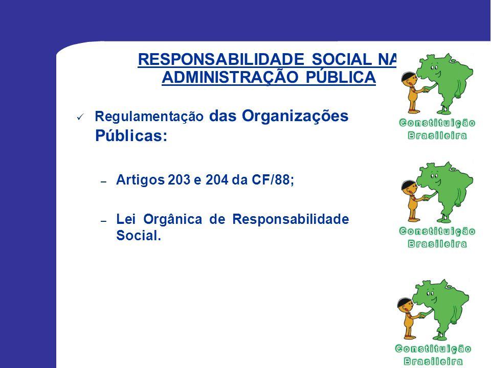 RESPONSABILIDADE SOCIAL NA ADMINISTRAÇÃO PÚBLICA Regulamentação das Organizações Públicas: – Artigos 203 e 204 da CF/88; – Lei Orgânica de Responsabil