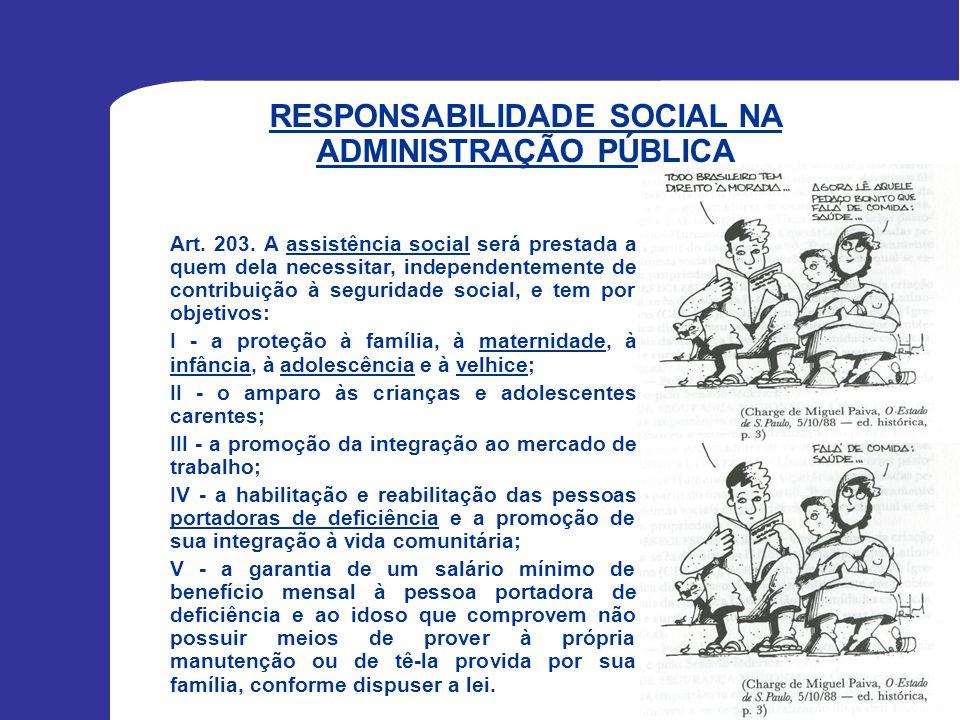 RESPONSABILIDADE SOCIAL NA ADMINISTRAÇÃO PÚBLICA Art. 203. A assistência social será prestada a quem dela necessitar, independentemente de contribuiçã