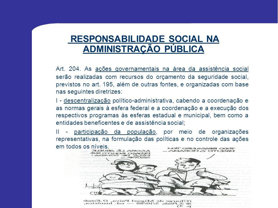 RESPONSABILIDADE SOCIAL NA ADMINISTRAÇÃO PÚBLICA Literatura escassa; Restringe-se ao escopo da ação social do governo; Pressupõe limite restrito do conceito de responsabilidade social.