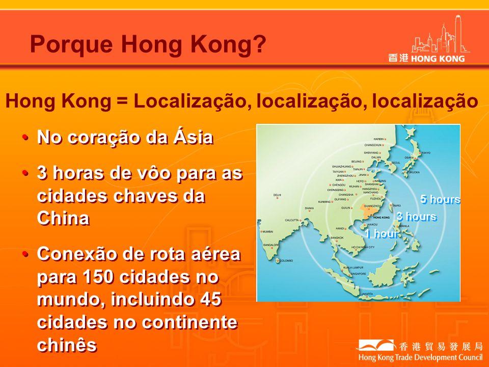 Hong Kong = Localização, localização, localização Porque Hong Kong? No coração da Ásia 3 horas de vôo para as cidades chaves da China Conexão de rota