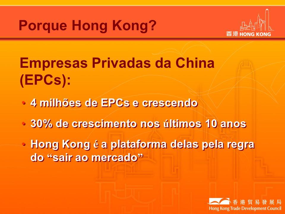 Empresas Privadas da China (EPCs): 4 milhões de EPCs e crescendo 30% de crescimento nos ú ltimos 10 anos Hong Kong é a plataforma delas pela regra do