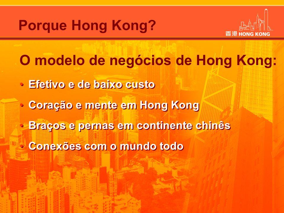 O modelo de negócios de Hong Kong: Efetivo e de baixo custo Coração e mente em Hong Kong Braços e pernas em continente chinês Conexões com o mundo tod
