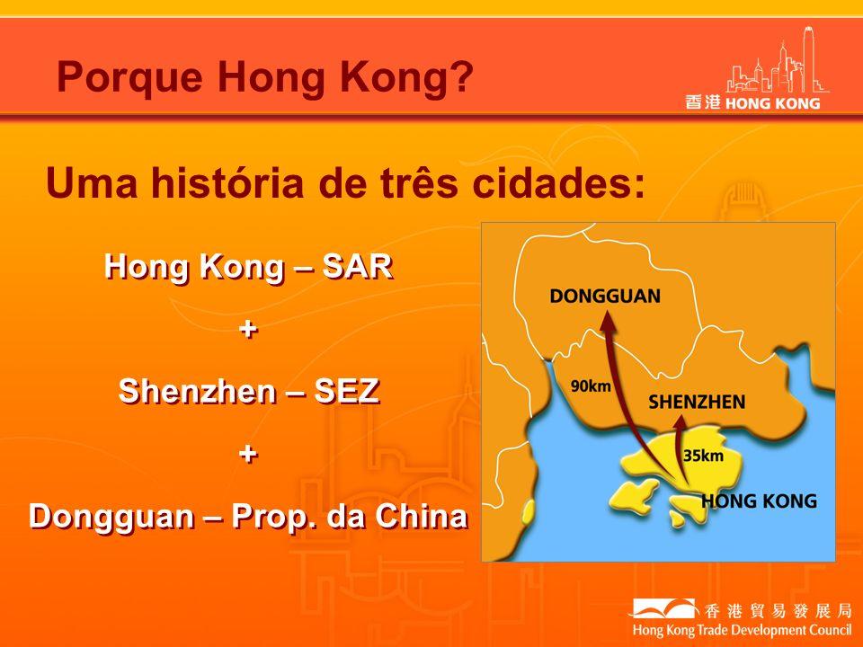 Uma história de três cidades: Hong Kong – SAR + Shenzhen – SEZ + Dongguan – Prop. da China Hong Kong – SAR + Shenzhen – SEZ + Dongguan – Prop. da Chin