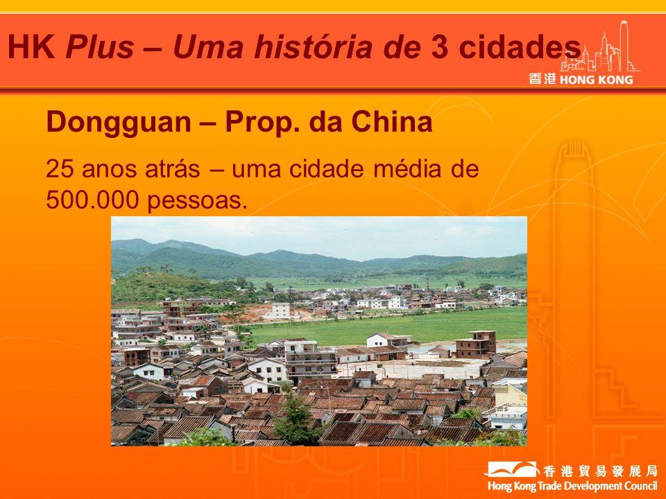 HK Plus – Uma história de 3 cidades Dongguan – Prop. da China 25 anos atrás – uma cidade média de 500.000 pessoas.