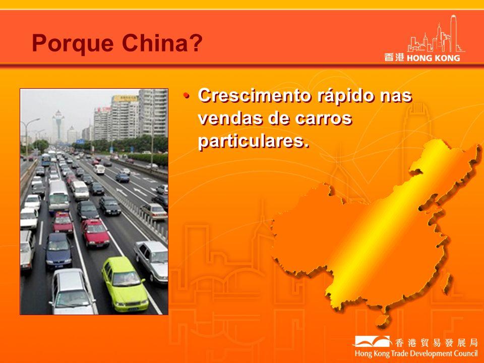 Porque China? Crescimento rápido nas vendas de carros particulares.