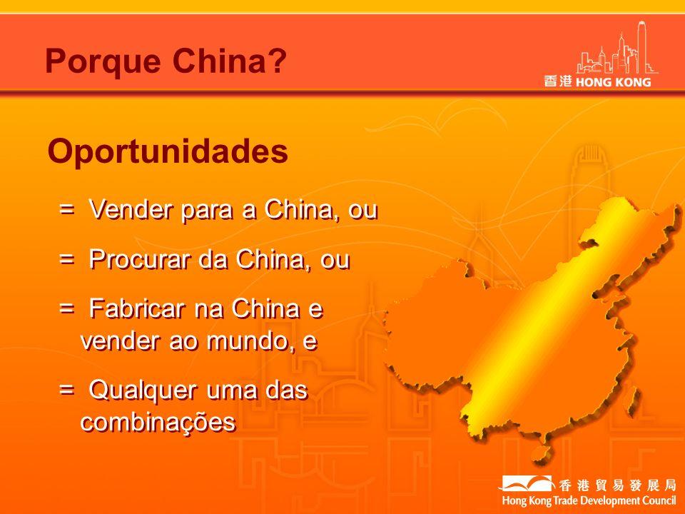 Oportunidades Porque China? = Vender para a China, ou = Procurar da China, ou = Fabricar na China e vender ao mundo, e = Qualquer uma das combinações