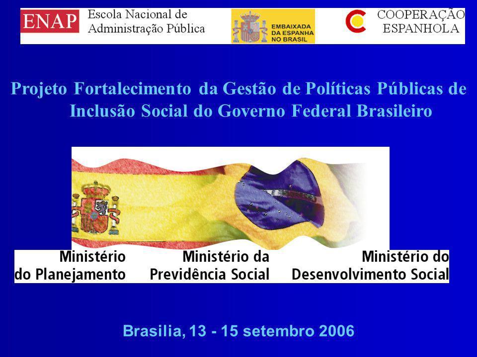 Projeto Fortalecimento da Gestão de Políticas Públicas de Inclusão Social do Governo Federal Brasileiro Brasilia, 13 - 15 setembro 2006