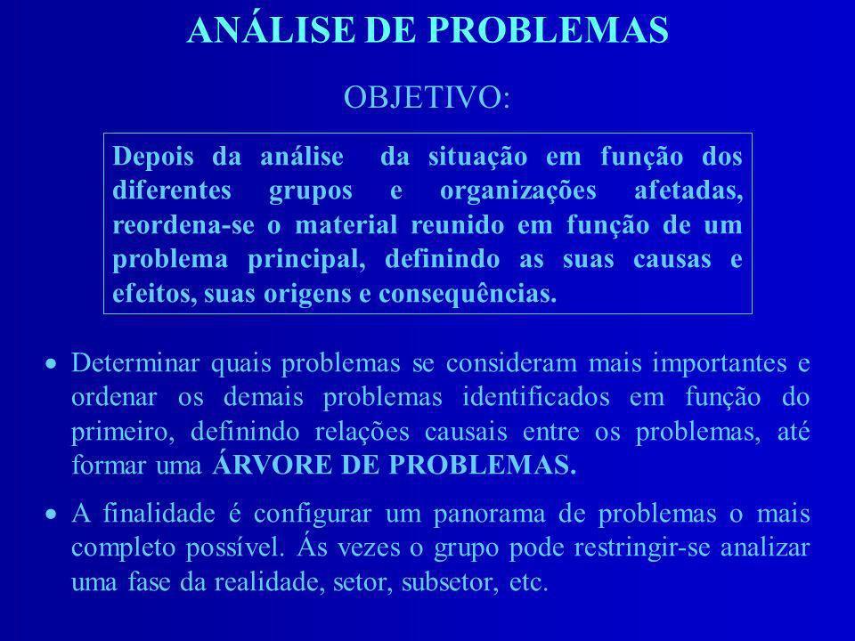 ANÁLISE DE PROBLEMAS Determinar quais problemas se consideram mais importantes e ordenar os demais problemas identificados em função do primeiro, defi