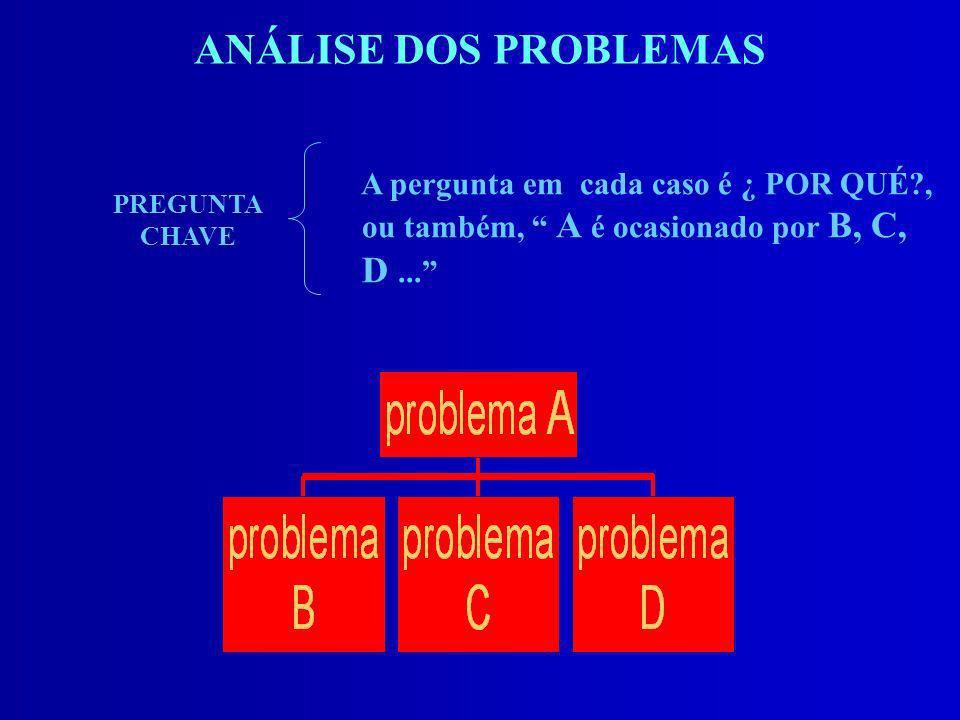 ANÁLISE DOS PROBLEMAS A pergunta em cada caso é ¿ POR QUÉ?, ou também, A é ocasionado por B, C, D... PREGUNTA CHAVE