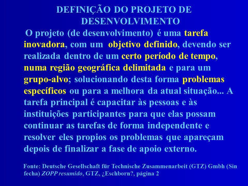 DEFINIÇÃO DO PROJETO DE DESENVOLVIMENTO O projeto (de desenvolvimento) é uma tarefa inovadora, com um objetivo definido, devendo ser realizada dentro