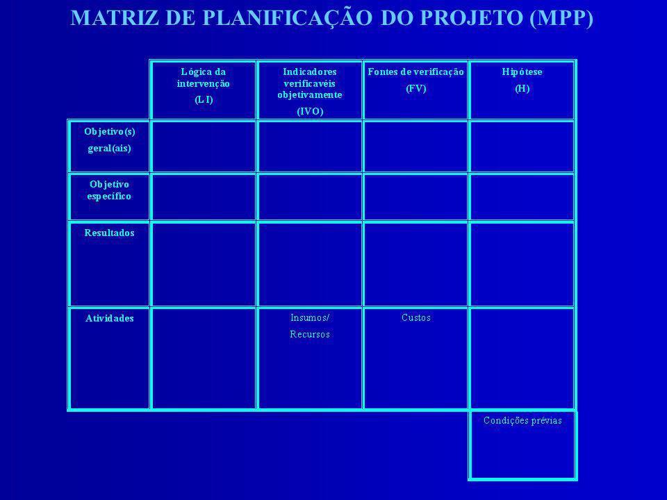 MATRIZ DE PLANIFICAÇÃO DO PROJETO (MPP)