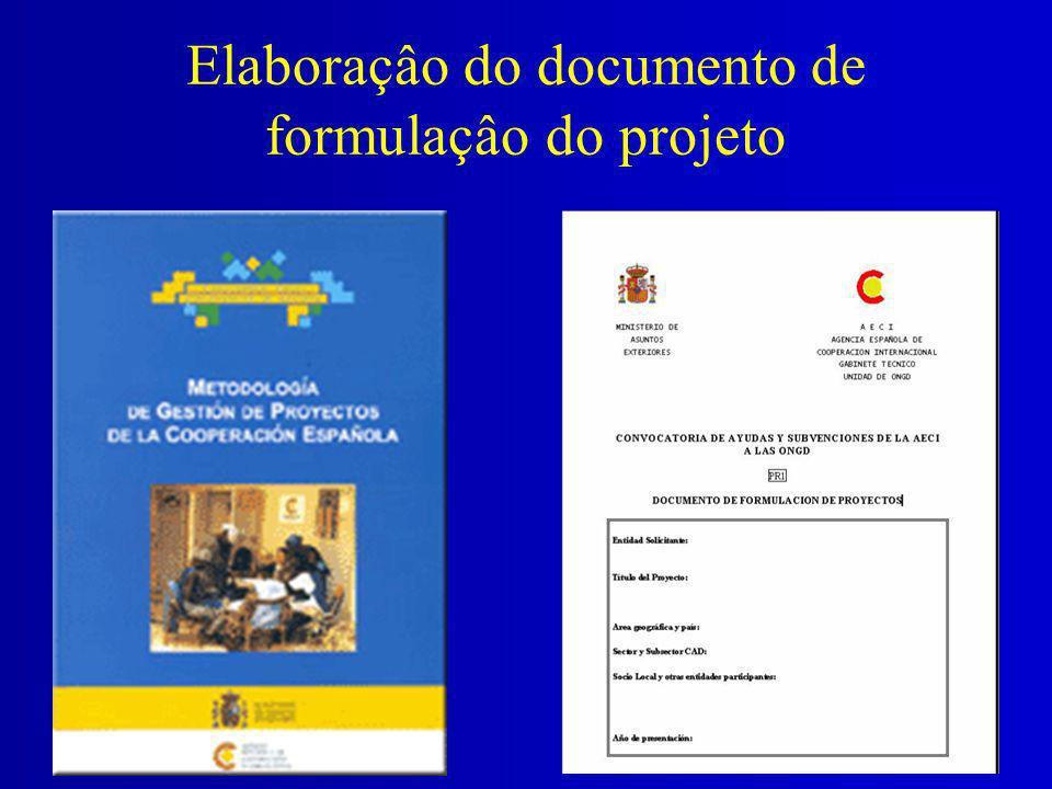 Elaboraçâo do documento de formulaçâo do projeto