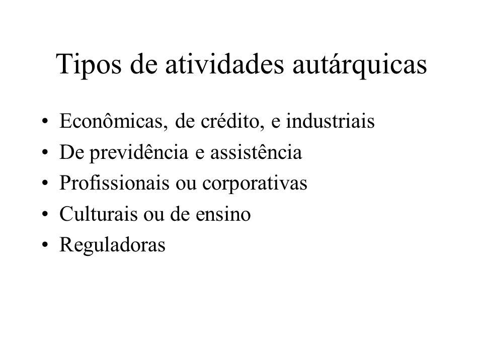 Tipos de atividades autárquicas Econômicas, de crédito, e industriais De previdência e assistência Profissionais ou corporativas Culturais ou de ensin
